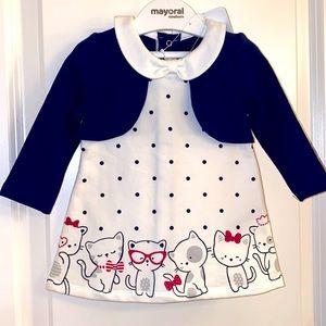 Mayoral NWT Kittens & PolkaDot Dress Fleece Lined